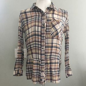 Anthroplogie Melrose and Market plaid top